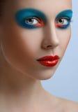 Blue red lips Women Makeup Beauty Stock Photography