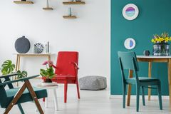 Blue and red living room Stock Photo