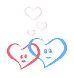 Blue and red love hearts together Stock Image