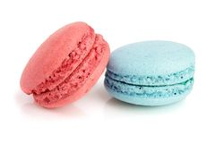 Blue and red macaroon isolated on white background closeup royalty free stock image