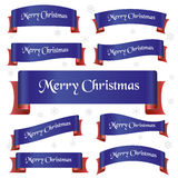 Blue and red merry christmas curved ribbon banners eps10 Stock Image