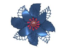 Blue red metal 3D illustration flower rendering Royalty Free Stock Image