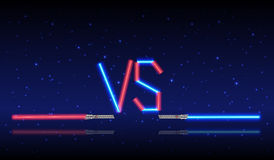 Blue and red Neon Versus Logo. Stock Photo