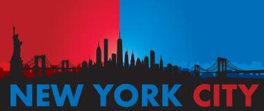 Blue Red New York City Skyline Vector Stock Photo