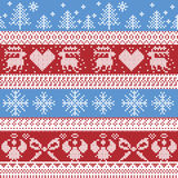 Blue and red Nordic Christmas winter pattern with reindeer,rabbits, Xmas trees, angels, bow in Scandinavian style cross stitch stock illustration