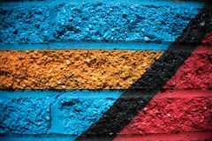 Blue Red Orange Black Yellow Brick Wall Background Royalty Free Stock Photography