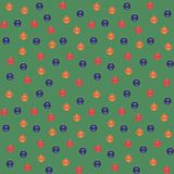 Blue, red, orange Christmas balls on a green background. Seamless vector pattern. Royalty Free Stock Photography