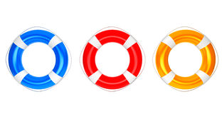 Blue, Red and Orange Lifebuoys Royalty Free Stock Photos