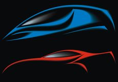 My blue and red original car design Royalty Free Stock Images