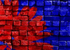 Blue, Red, Painted, Brick, Wall Royalty Free Stock Photography