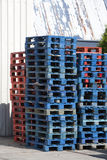 Blue and red pallets Royalty Free Stock Photos