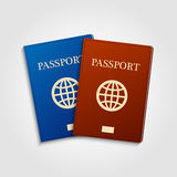 Blue and red passports. Royalty Free Stock Photography