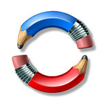 Blue and red pencil symbol Stock Images