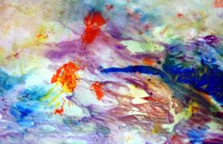 Blue red pink green smoky pastel colors, bright pastel paint acrylic watercolor background, colorful texture. Watercolor painting bright fluid smoky abstract royalty free stock photos