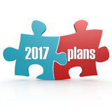 Blue and red with 2017 plans puzzle. 3D rendering Stock Images