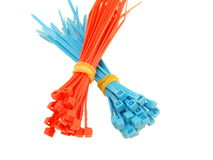Blue and red plastic wire ties Royalty Free Stock Photo