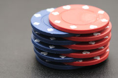 Blue and red poker chips Stock Photo