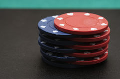 Blue and red poker chips Stock Photos