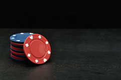 Blue and red poker chips Royalty Free Stock Photos