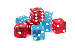 Blue and Red Poker Dice Royalty Free Stock Photos