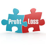 Blue and red with profit and loss puzzle. 3D rendering Royalty Free Stock Photo