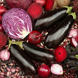 Blue red purple colored vegetables composition Royalty Free Stock Images