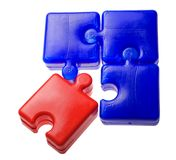 Blue and red puzzle elements Royalty Free Stock Photos
