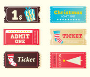 Blue and red retro cinema christmas tickets stock illustration