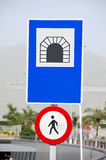 Blue and red road signs Royalty Free Stock Images