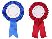 Blue and red rosettes, with copy space Stock Images
