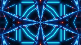 Blue red scifi kalaidoscope with glowing pattern royalty free illustration