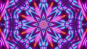 Blue red scifi kalaidoscope star with glowing pattern. And futuristic look stock illustration