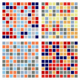 Blue red seamless set. Set of four abstract blue-red geometrical seamless patterns stock illustration