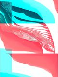 Blue and red shapes, 3d relief colors style, pixel waves royalty free illustration