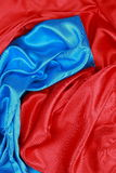 Blue and red Silk cloth of wavy abstract backgrounds Stock Images