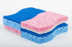 Blue and red sponges Royalty Free Stock Photos