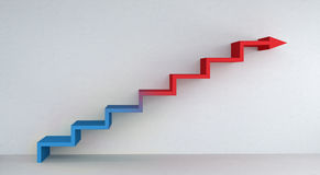 Blue and red stairs arrow going up on concrete wall 3D rendering. Blue and red stairs arrow going up on concrete wall and bright interior 3D rendering Stock Photos