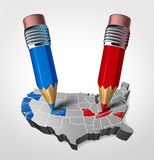 Blue And Red States Concept. As an American election fight as republican versus democrat represented by two pencils coloring the states as a symbol for the vote Stock Photography