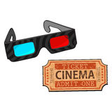 Blue-red stereoscopic, 3d glasses and cinema, movie ticket Royalty Free Stock Photo