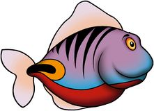 Blue and Red striped fish. Fish 42 - High detailed illustration - Blue and Red striped fish Stock Photo