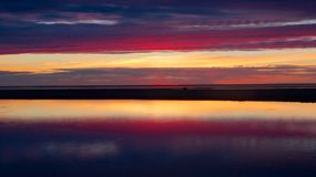 Blue and red sunset in Kalajoki Stock Image