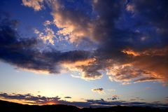 Blue red sunset sky background Royalty Free Stock Image