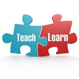 Blue and red with teach and learn puzzle Stock Photography