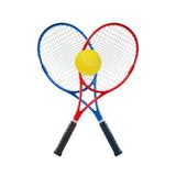 Blue and red tennis rackets and ball isolated white Stock Photography