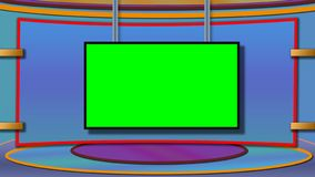 TV news studio background with greenscreen royalty free stock photo