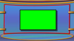 TV news studio background with greenscreen royalty free stock photography