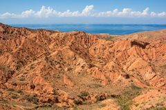 Blue and red. Traditional hous of Nomad people of Kyrgys republic  in red rocks on south of Issyk-Kul lake on the east of Kyrgyzstan Kyrgyz republic. famous Stock Image