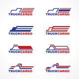 Blue red truck cargo logo vector design Royalty Free Stock Images
