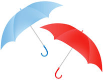 Blue and red umbrella Stock Photo