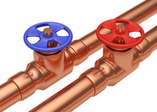Blue and red valves on copper pipes diagonal view Stock Photos